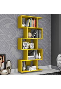 Estante Para Livros Com Nichos Esm209 Retrô Movelbento Amarelo