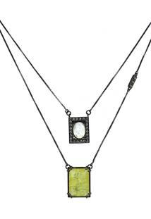 Colar Infine Escapulário Medalhas Em Frente Pedra Amarela Fusion - Tricae