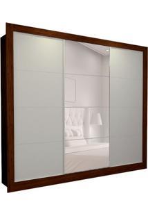 Guarda-Roupa Casal Com 1 Espelho Helena 3 Pt 6 Gv Branco E Marrom 242 Cm