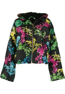 Versace Jeans Couture Baroque Print Cropped Jacket - Preto