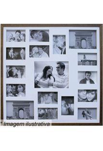 Painel Para 17 Fotos- Marrom & Branco- 73X73Cmkapos