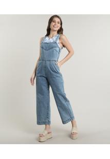 Macacão Jeans Feminino Com Bolsos Alça Larga Azul Claro