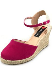 Sandália Anabela Love Shoes Espadrille Fechada Corda Rosa