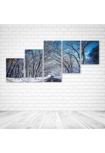 Quadro Decorativo - Winter Road Trees Landscape - Composto De 5 Quadros - Multicolorido - Dafiti