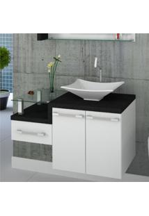 Gabinete Para Banheiro Legno 830W Compace Branco/Preto Onix