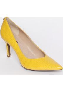 Scarpin Em Couro Com Tag - Amarelo - Salto: 8Cmjorge Bischoff