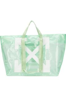Off-White Bolsa Tote Com Logo - Verde