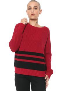 Suéter Ellus Tricot Striped Vermelho/Preto