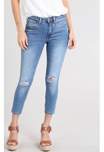 Calça Jeans Feminina Cropped Com Rasgos Azul Médio