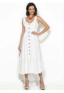 Vestido Midi De Botões Off White