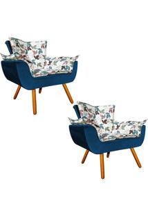 Kit 02 Poltrona Decorativa Opala Composê Estampado Floral D68 E Peach Azul Marinho - D'Rossi