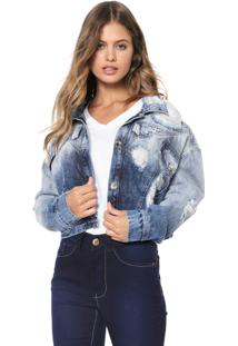 Jaqueta Jeans Cropped Denuncia Destroyed Azul