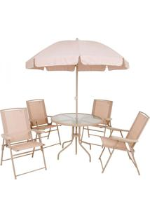 Conjunto Mesa E Cadeiras Para Jardim Malibu Bege 6 Peças Mor