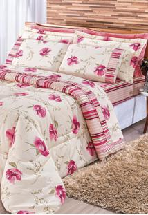 Edredom Bia Enxovais Casal Dupla Face 180 Fios Requinte 3 Peças - Floral Pink