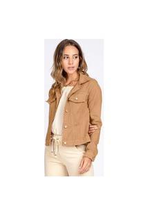Jaqueta Jeans Tipo Moletom Bloom Classica Caqui Chique