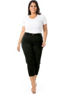 Calça Jeans Capri Destroyed Plus Size Confidencial Extra Feminina - Feminino-Preto