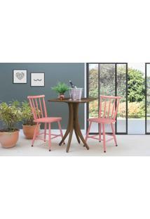 Mesa Bistrô Quadrada Com 2 Cadeiras Juliette - Nogueira E Rosa Coral