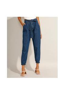 Calça Jogger Clochard Jeans Com Faixa Para Amarrar Cintura Super Alta Azul Escuro