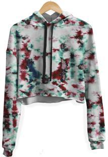 Blusa Cropped Moletom Feminina Marmorizado Tie Dye Md19 - Branco - Feminino - Poliã©Ster - Dafiti