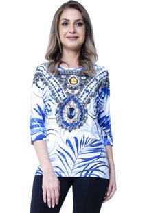 Blusa Estampada 101 Resort Wear Étnico Branco