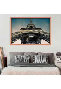 Quadro Love Decor Com Moldura Torre Eiffel Jour Rose Metalizado Grande