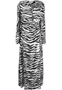 The Attico Vestido Envelope Com Estampa De Zebra - Preto