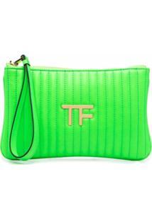 Tom Ford Clutch Matelassê Com Placa De Logo - Verde