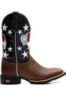 Bota Ellest Texana Bandeira Do Texas Com Estrelas Masculina - Masculino-Marrom+Azul