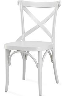 Cadeira X Para Bar De Madeira Maciça - Laca Branca - Madeleine - 50X54,5X86 Cm