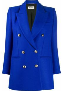 Saint Laurent Jaqueta Slim Com Abotoamento Duplo - Azul