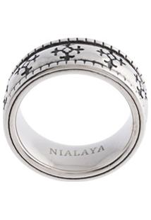 Nialaya Jewelry Anel Esmaltado - Prateado