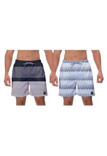 Kit 2 Shorts Moda Praia Cinza Branco Caminhada Ajustável Vôlei Surf Banho W2