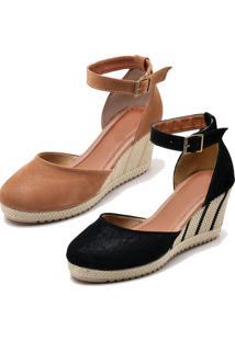 Kit 2 Sandálias Ousy Shoes Anabela Espadrille Caramelo