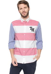 Camisa Tommy Hilfiger Reta Listrada Branca/Azul/Rosa