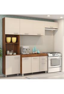 Cozinha Compacta 8 Portas 1 Gavetas Laguna Cedro/Off White - Viero Móveis
