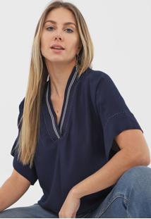 Blusa Iodice Pesponto Azul-Marinho