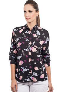 Camisa Love Poetry Floral Preta