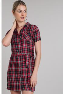 5071fa3e0 R$ 99,99. CEA Vestido Clock Xadrez Vermelho Solto Chemise Com Manga Curta  Estampado Esporte Viscose Feminino