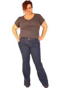Calça Jeans True E-Motion Flare Plus Size Blue Jeans Entrepernas 85Cm Plus Size Do 46 Ao 58