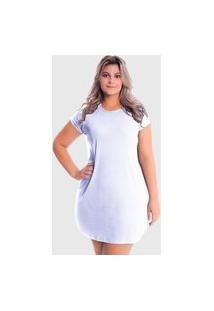 Vestido T-Shirt Blusão Plus Size Lynnce Branco