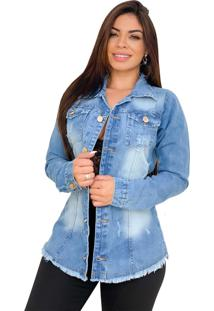 Max Jaqueta Jeans Destroyed - Ewf Jeans - Azul Claro - Azul - Feminino - Dafiti