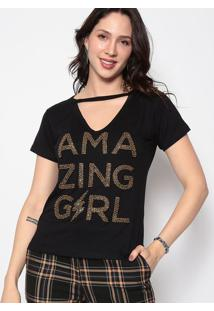 """Blusa """"Amazing Girl""""- Preta & Dourada- Cavalaricavalari"""