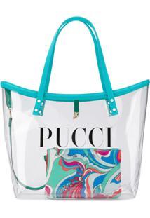 Emilio Pucci Bolsa Tote Transparente Com Logo - Azul