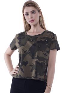 Camiseta T-Shirt Camuflada Com Aplicação Tachas Pop Me Verde
