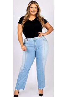 Calça Cigarrete Almaria Plus Size Fact Jeans Azul