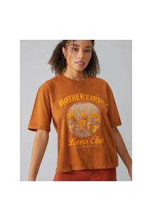 Amaro Feminino T-Shirt Mother Earth Lovers Club, Marrom