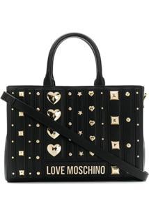Love Moschino Bolsa Tote De Couro Com Tachas - Preto