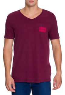 Camiseta Ckj Mc Estampa Quadrado Peito - Bordo - Pp