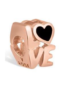 Pingente Life Love Com Banho Ouro Rosé