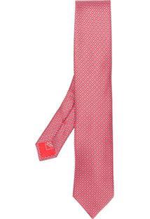 Brioni Gravata De Seda Estampada - Vermelho